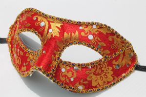 Red and Gold Mask - Baroque Mask | Masks and Tiaras